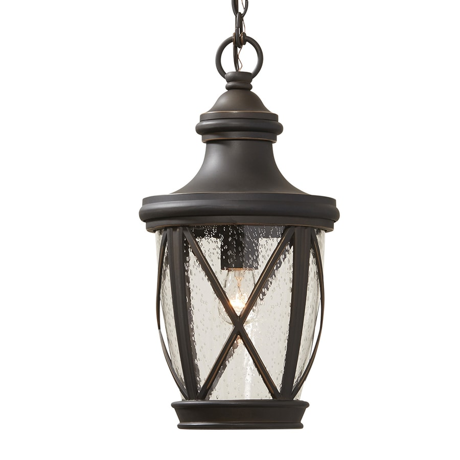Allen Roth Castine Rubbed Bronze Traditional Seeded Gl Cylinder Pendant