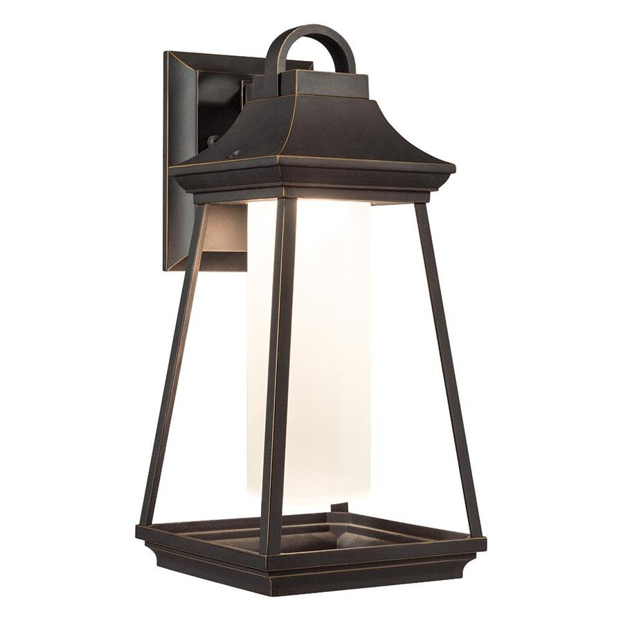Shop kichler hartford 15 in h led rubbed bronze outdoor for Outdoor porch light fixtures