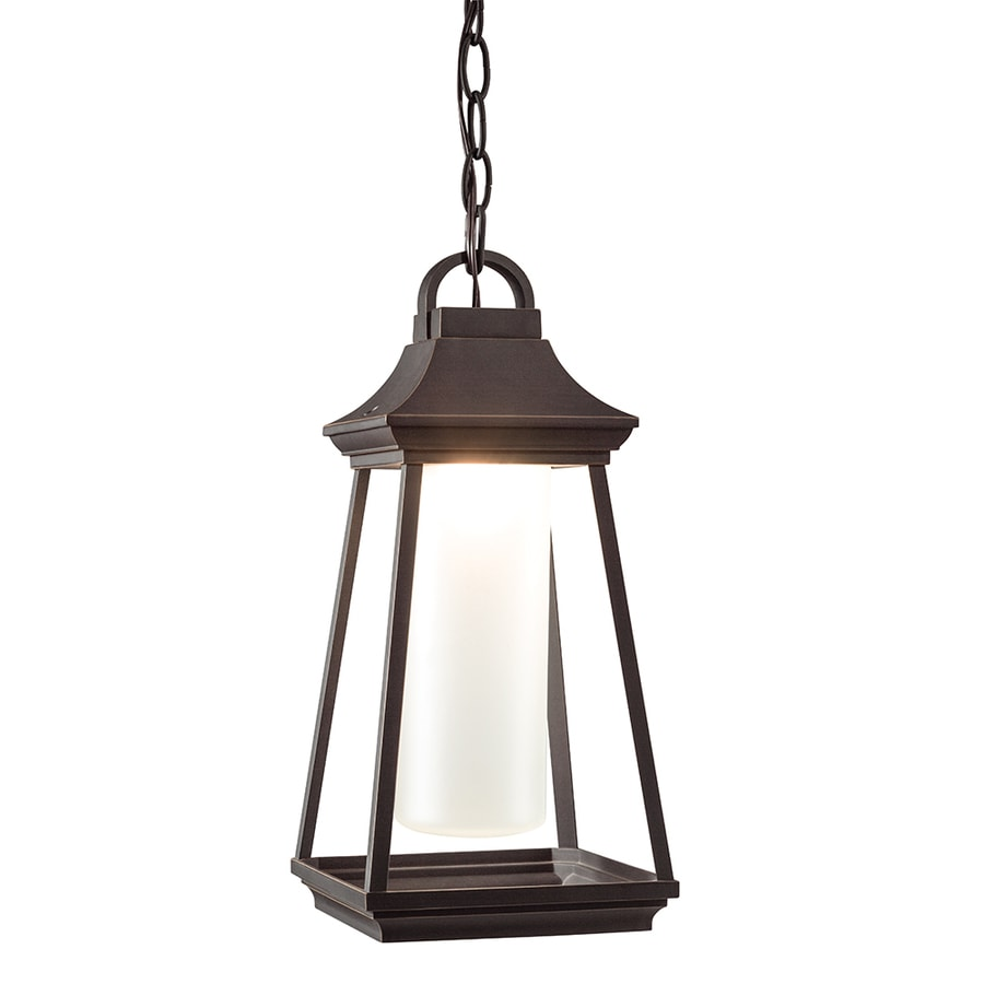 Kichler Lighting Hartford 15-in Rubbed Bronze Outdoor Pendant Light