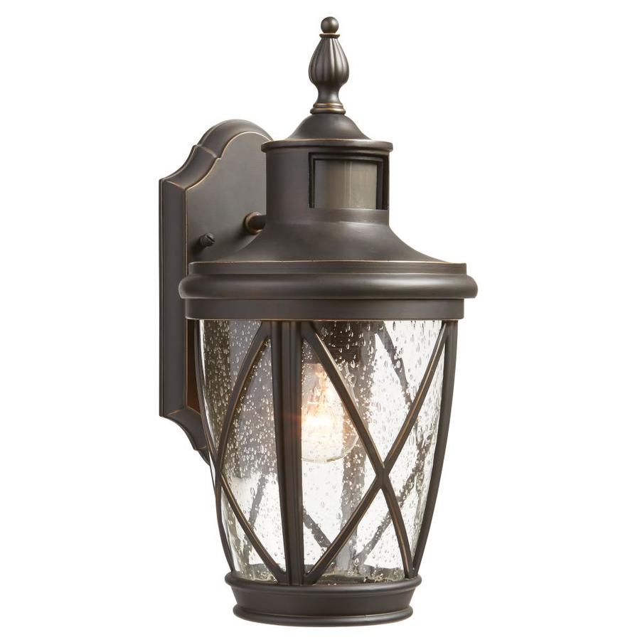 Shop allen roth castine h rubbed bronze motion for Outdoor yard light fixtures
