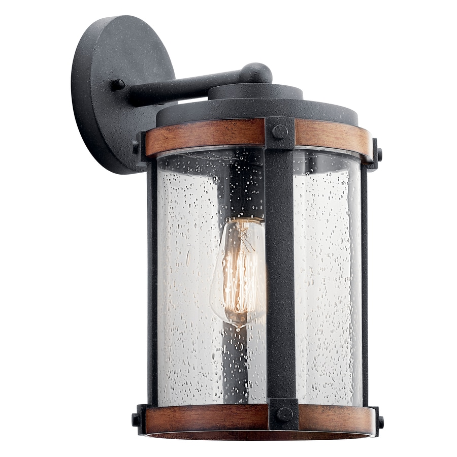 Shop Kichler Barrington 16-in H Distressed Black And Wood Medium Base (E-26) Outdoor Wall Light ...