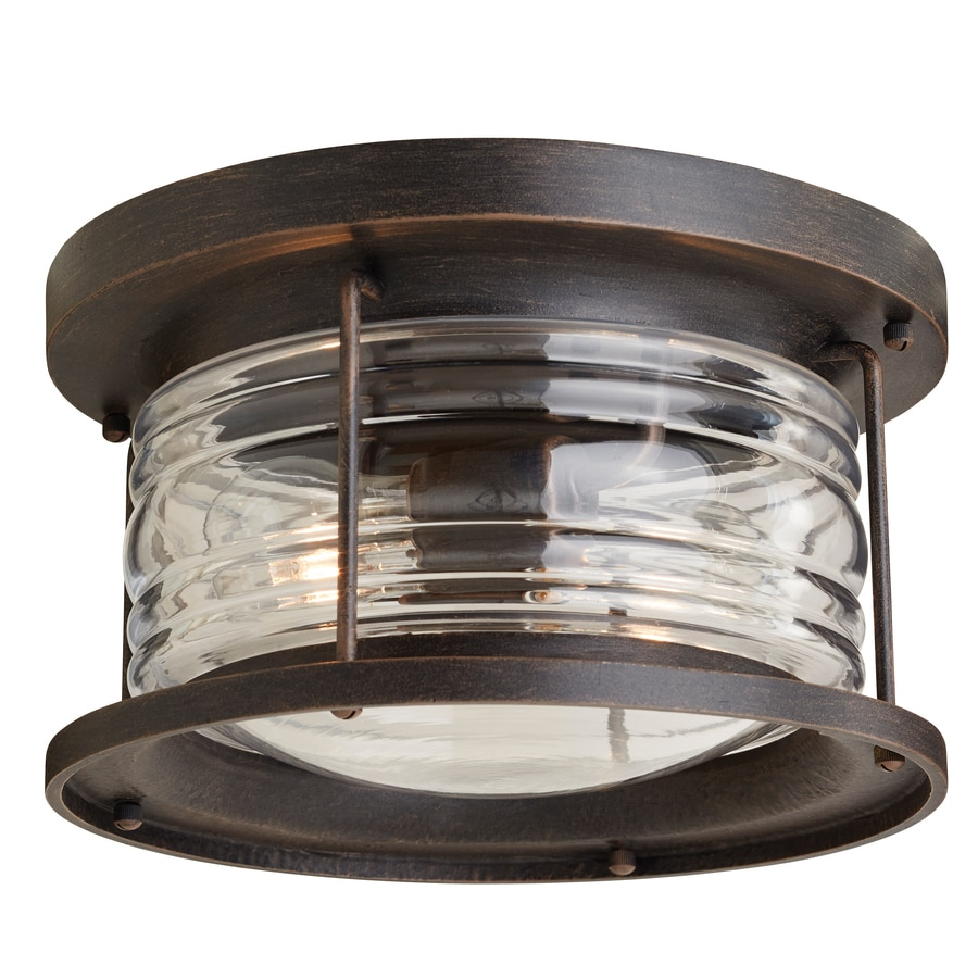 Allen + Roth Stonecroft 12 In W Rust Outdoor Flush Mount Light