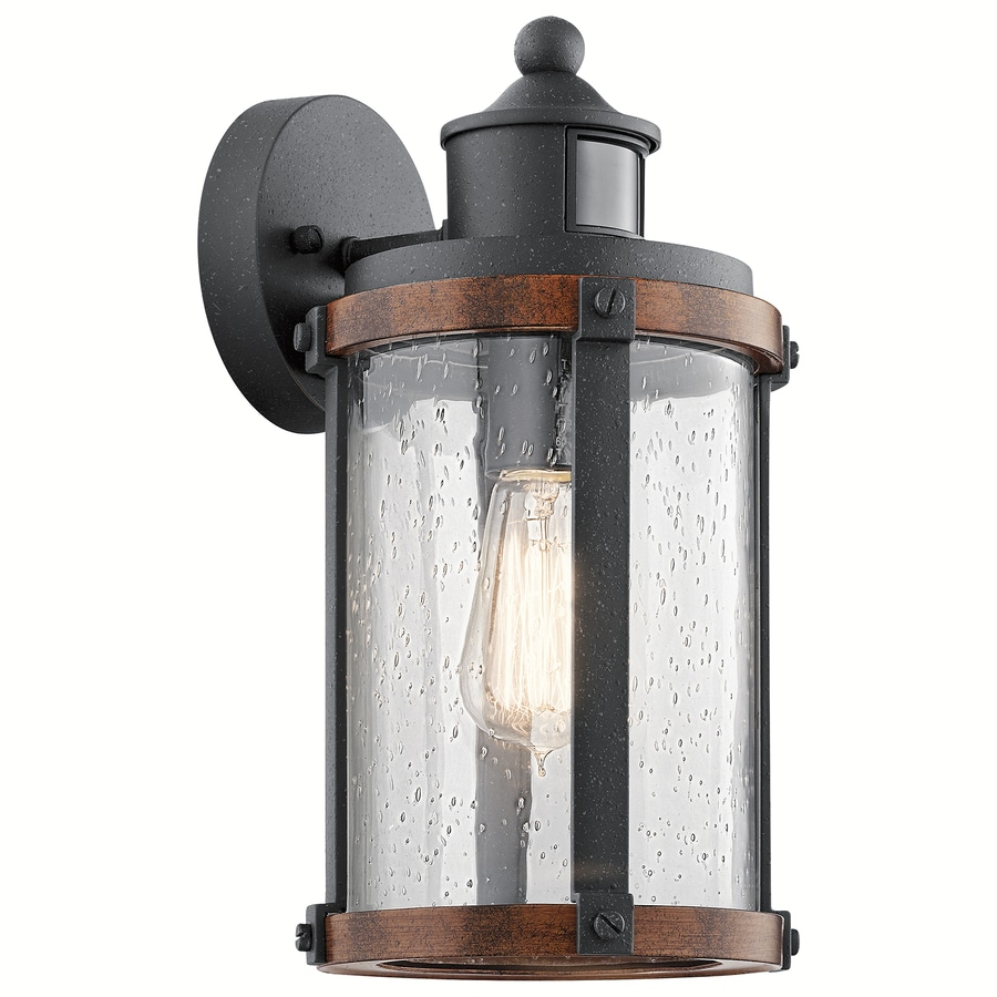 Shop outdoor wall lighting at lowes kichler barrington 1325 in h distressed black and wood motion activated medium base e mozeypictures Images
