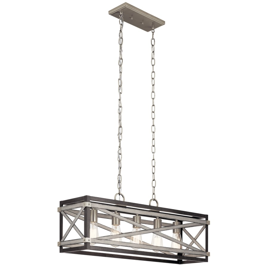 kichler stetton anvil iron and driftwood linear farmhouse rectangle pendant at lowes com