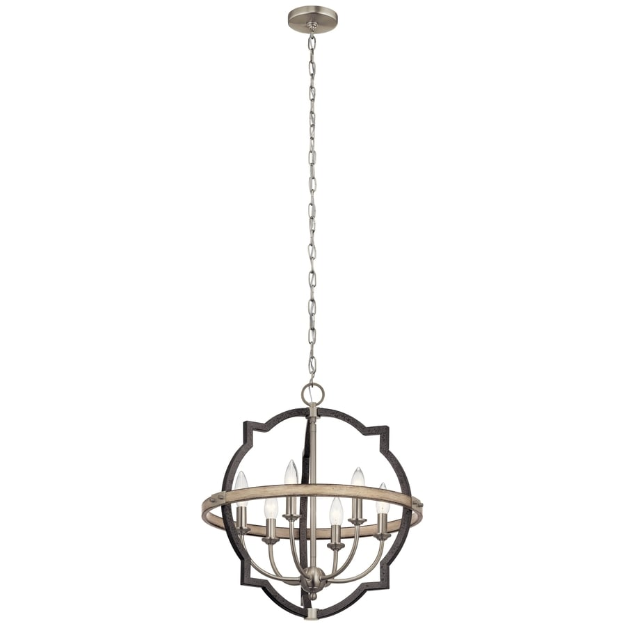 Kichler Elula 6 Light Anvil Iron And Distressed Antique Grey Farmhouse Chandelier In The Chandeliers Department At Lowes Com