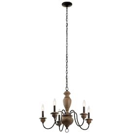 Kichler Beulah 5-Light Olde Bronze and Wood Tone Farmhouse Chandelier