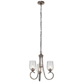 Kichler Chesterlyn 3-Light Vintage Tuscan Traditional Ribbed Glass Shaded Mini Chandelier