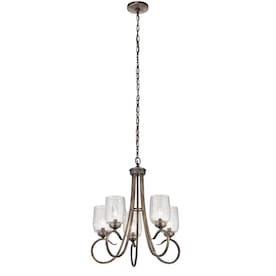 Kichler Chesterlyn 5-Light Vintage Tuscan Traditional Ribbed Glass Shaded Chandelier