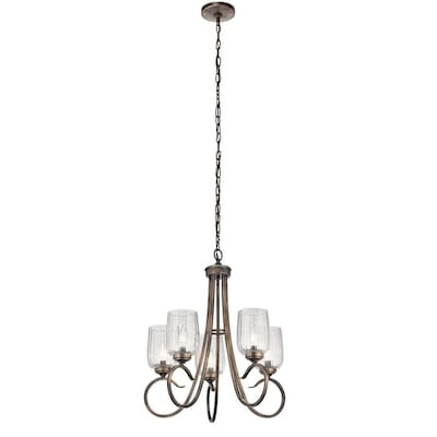 Chesterlyn 5 Light Vintage Tuscan Traditional Ribbed Gl Shaded Chandelier