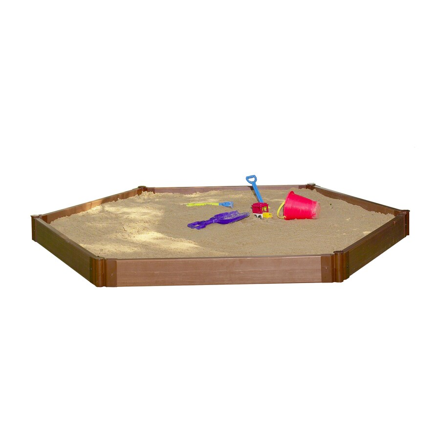 Frame It All 7-ft x 8-ft Brown Hexagon Composite Sandbox