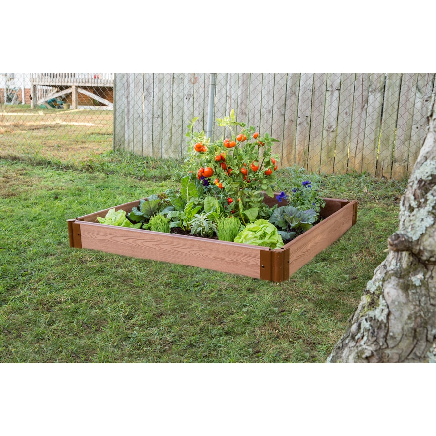 Frame It All 48-in W x 48-in L x 5.5-in H Brown Composite Raised Garden Bed