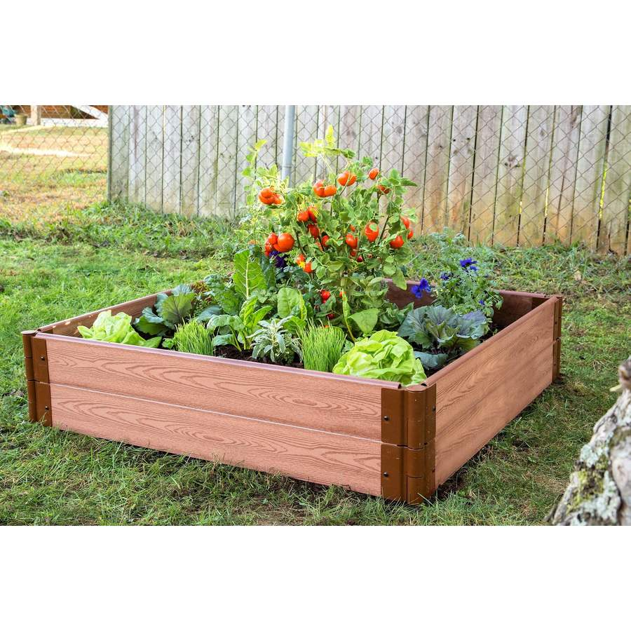 Shop frame it all 48 in w x 48 in l x 11 in h brown Raised garden beds