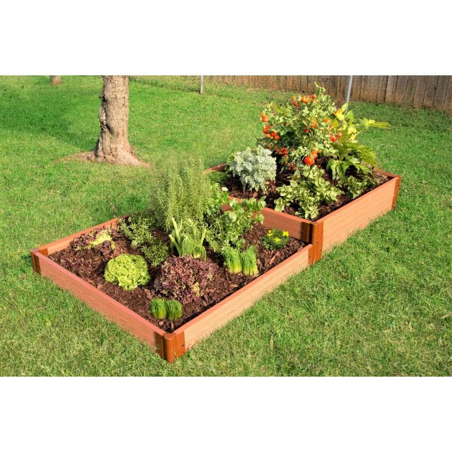 Frame It All 48-in W x 96-in L x 11-in H Brown Composite Raised Garden Bed