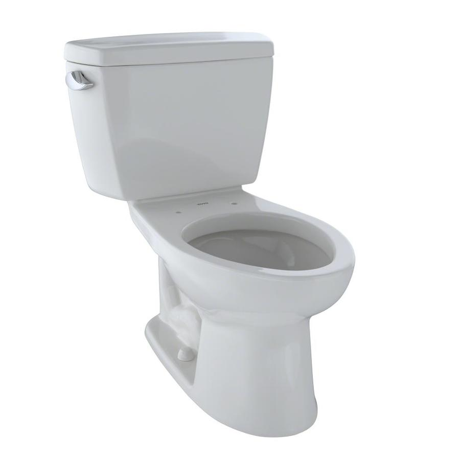 TOTO Drake Colonial White  Elongated Standard Height 2-piece Toilet 12-in Rough-In Size