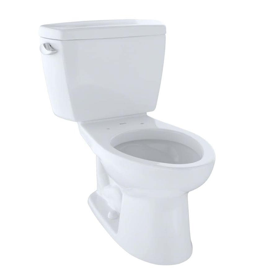 TOTO Drake Cotton White  Elongated Chair Height 2-piece Toilet 12-in Rough-In Size