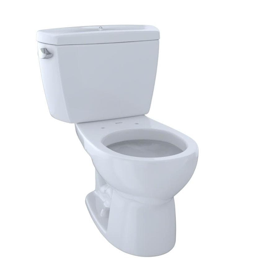 TOTO Drake Cotton White  Round Standard Height 2-piece Toilet 12-in Rough-In Size