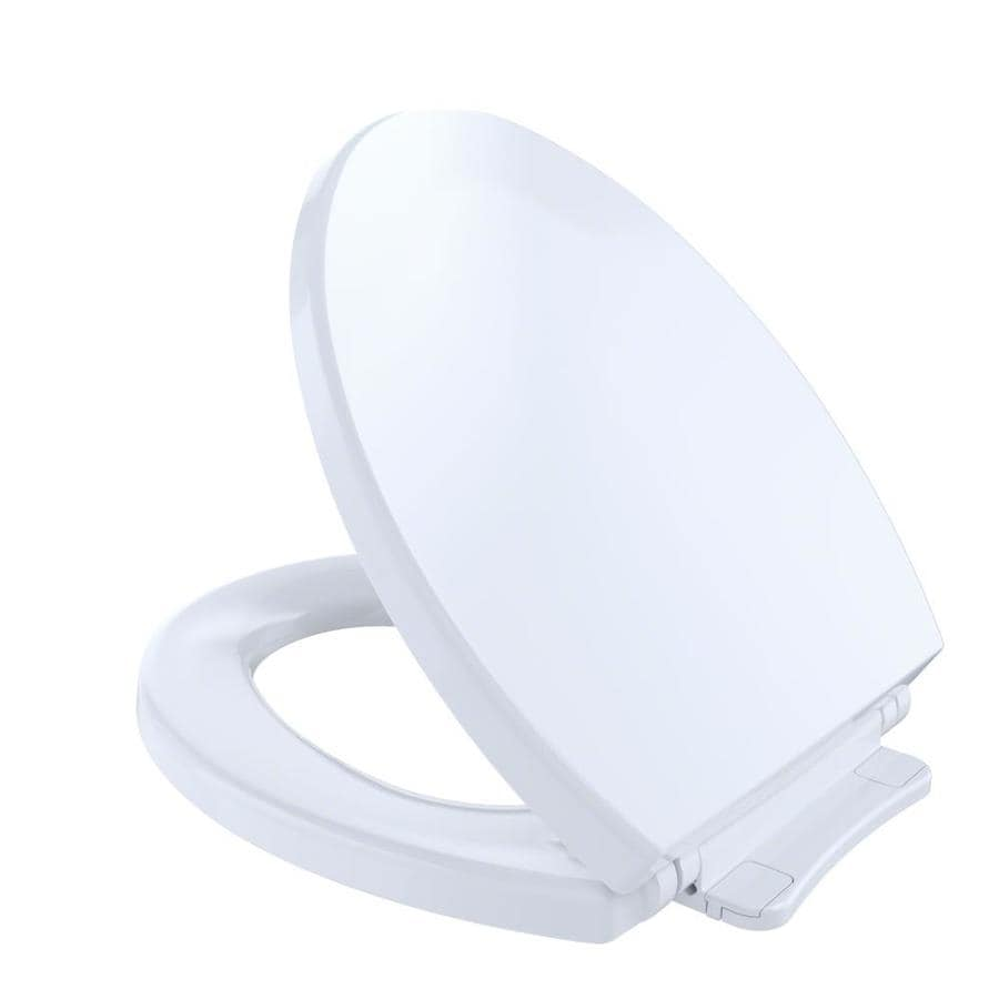 TOTO Cotton White Plastic Round Slow Close Toilet Seat