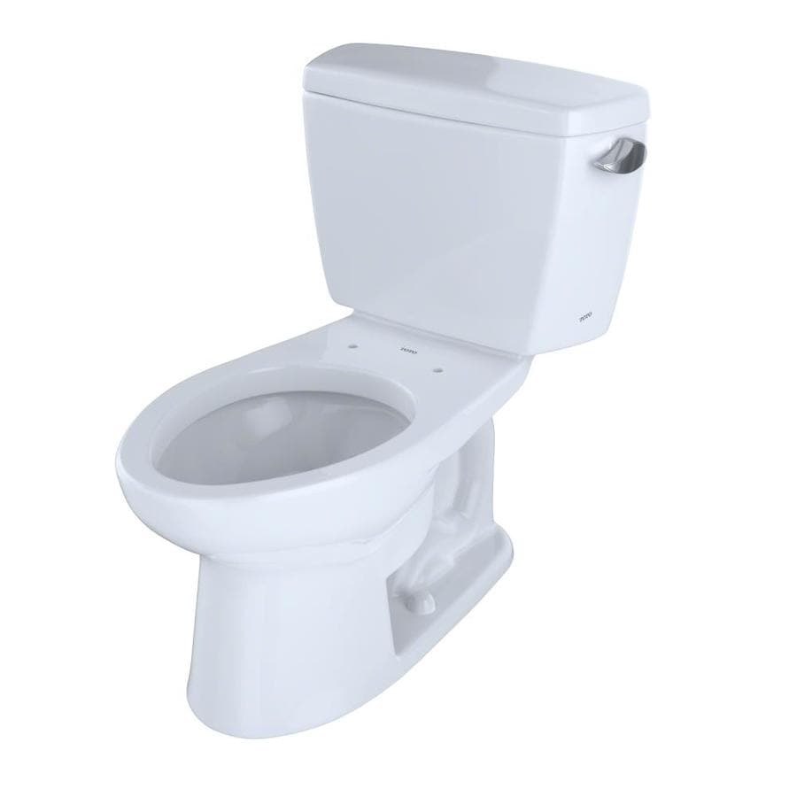 TOTO Drake Cotton White  Elongated Standard Height 2-piece Toilet 12-in Rough-In Size