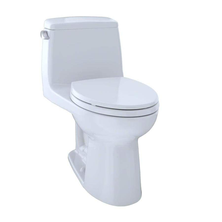 TOTO Ultramax Cotton White  Elongated Chair Height 1-piece Toilet 12-in Rough-In Size