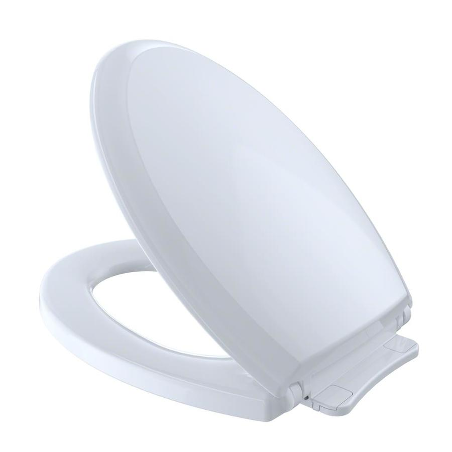 TOTO Guinevere Cotton White Plastic Elongated Slow Close Toilet Seat