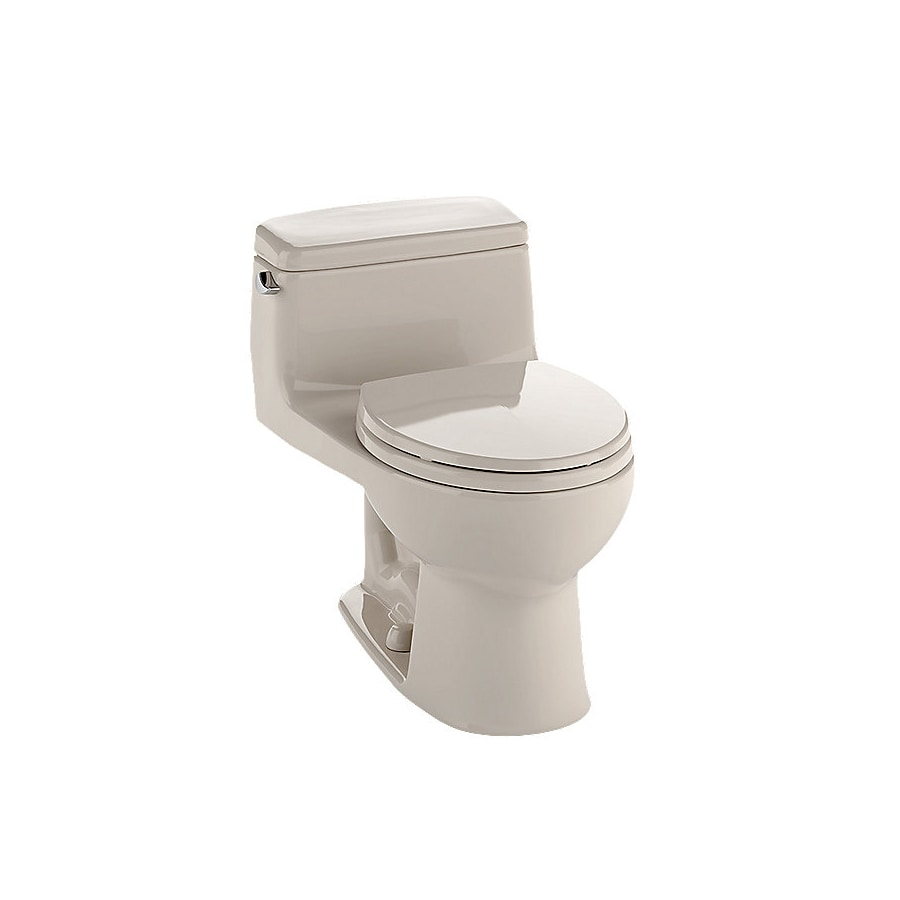 TOTO Eco Supreme Bone  Elongated Standard Height 1-piece Toilet 12-in Rough-In Size