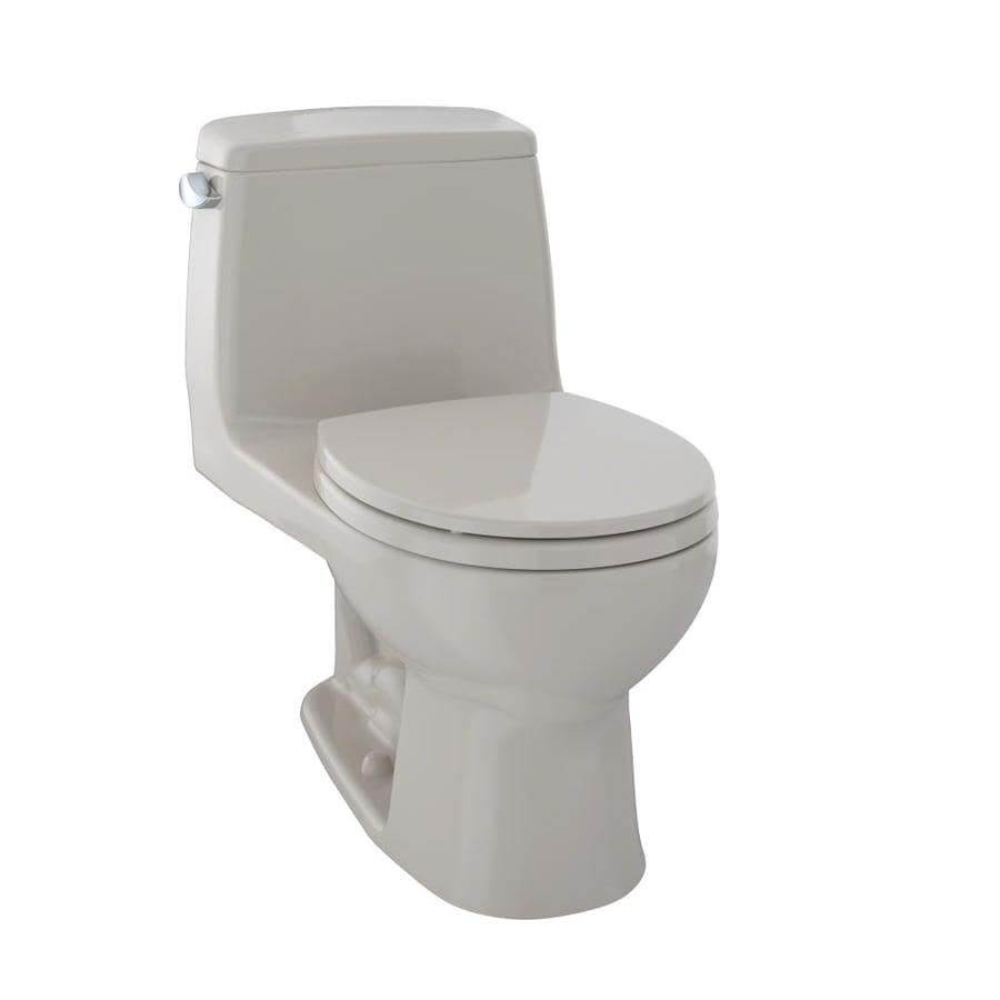 TOTO Ultramax Bone  Round Standard Height 1-piece Toilet 12-in Rough-In Size