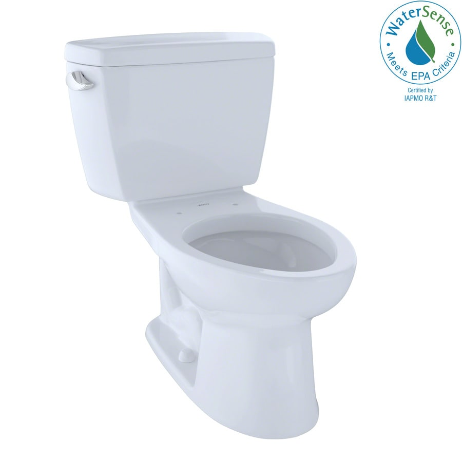 TOTO Eco Drake 1.28-GPF Cotton White WaterSense Elongated Standard Height 2-Piece Toilet
