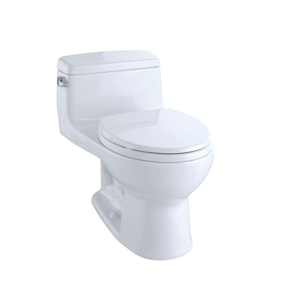 TOTO Eco Supreme Cotton White WaterSense Labeled  Round Standard Height 1-piece Toilet 12-in Rough-In Size