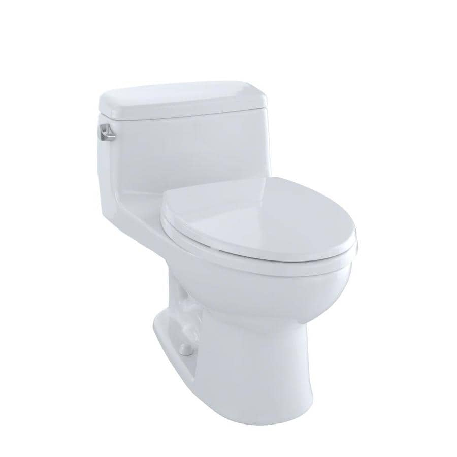 TOTO Eco Supreme Cotton White WaterSense Labeled  Elongated Standard Height 1-piece Toilet 12-in Rough-In Size
