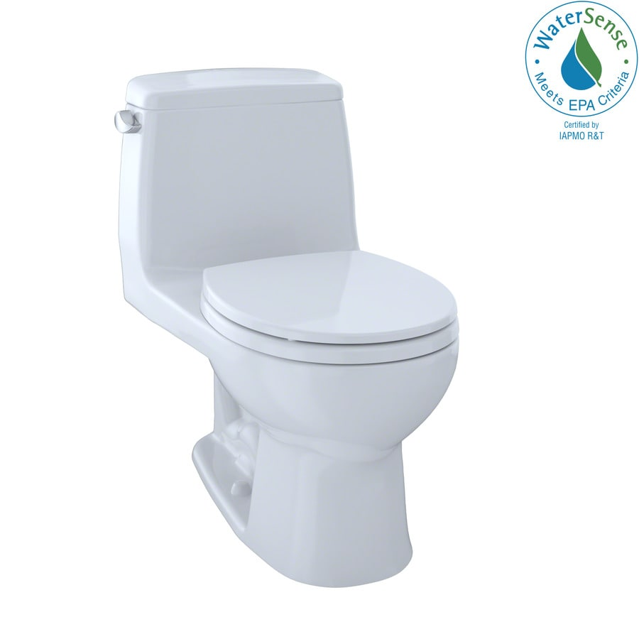 TOTO Eco Ultramax Cotton White WaterSense Labeled  Round Standard Height 1-piece Toilet 12-in Rough-In Size