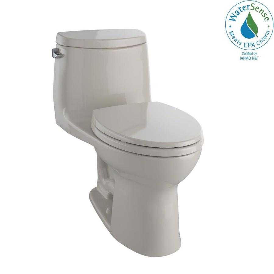 TOTO Ultramax II 1.28-GPF Bone WaterSense Elongated Chair Height 1-Piece Toilet
