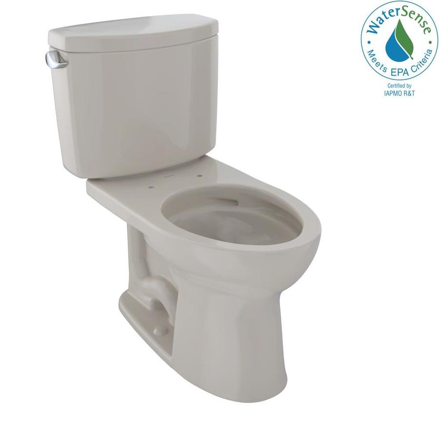 TOTO Drake II Bone WaterSense Labeled  Elongated Chair Height 2-piece Toilet 12-in Rough-In Size