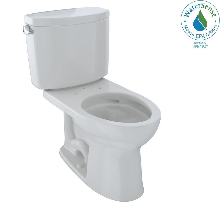 TOTO Drake II 1.28-GPF (4.85-LPF) Colonial White Elongated Chair Height 2-piece Toilet