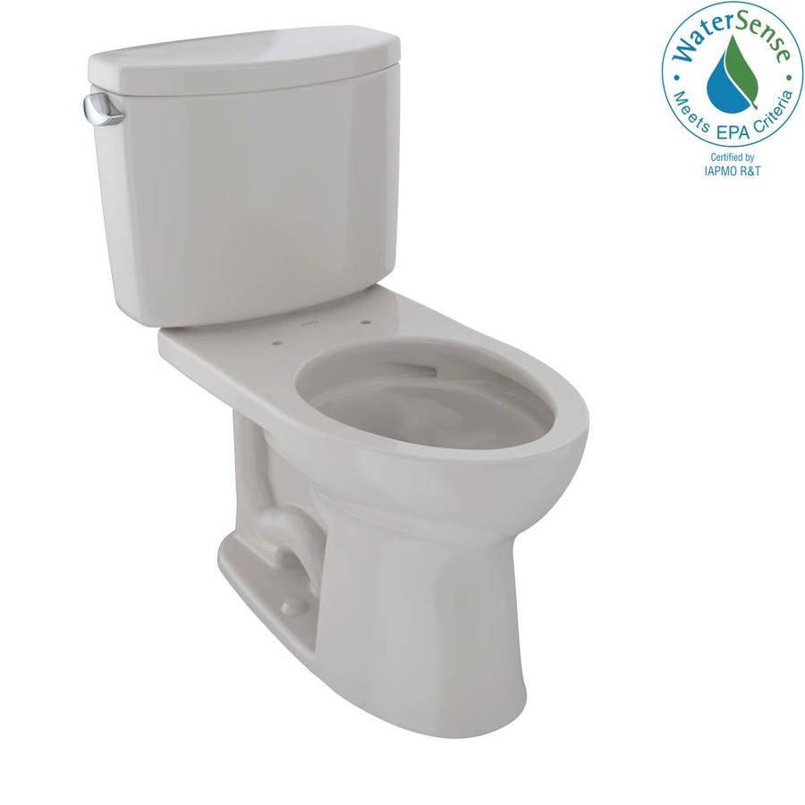 TOTO Drake II Sedona Beige 1.28-GPF (4.85-LPF) 12 Rough-In WaterSense Elongated 2-Piece Chair Height Toilet