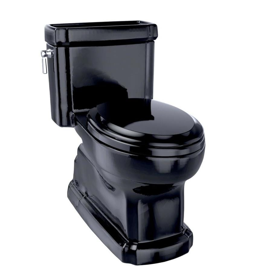 TOTO Eco Guinevere Ebony WaterSense Labeled  Elongated Chair Height 1-piece Toilet 12-in Rough-In Size