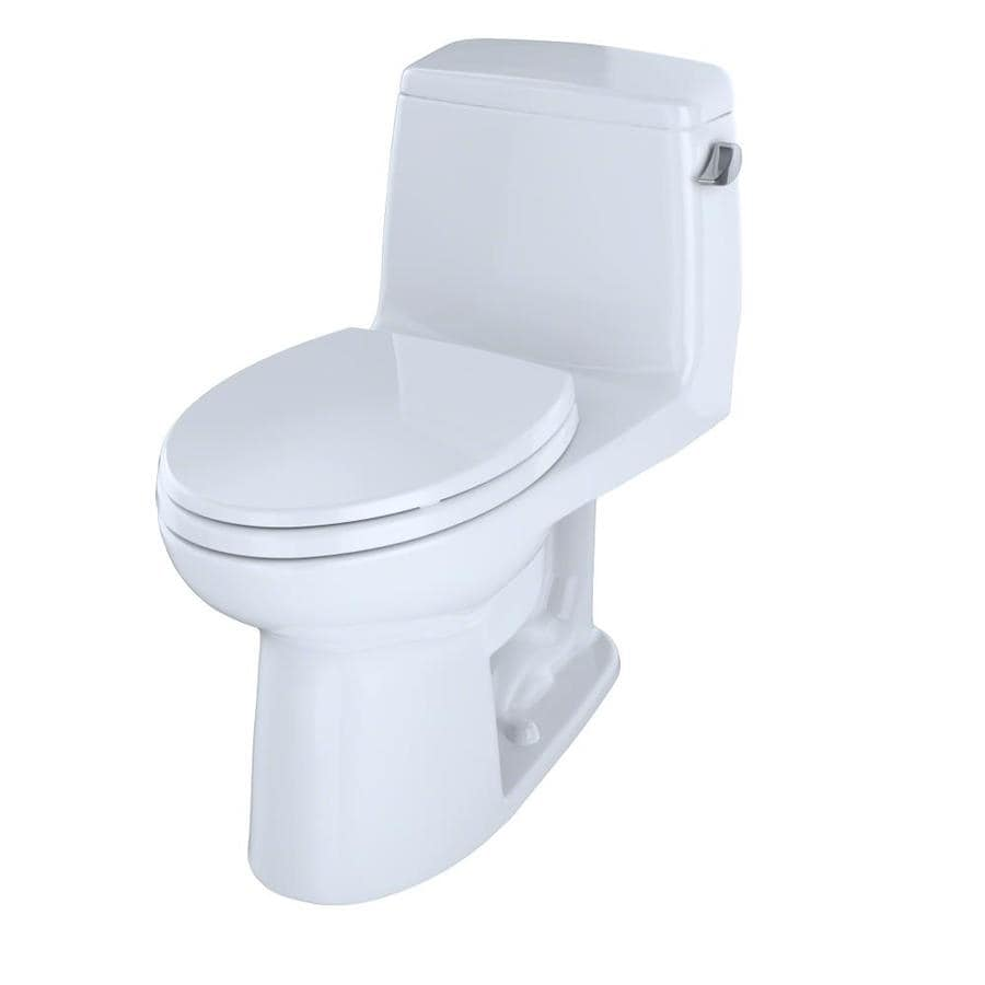 TOTO Eco Ultramax Cotton White WaterSense Labeled  Elongated Chair Height 1-piece Toilet 12-in Rough-In Size
