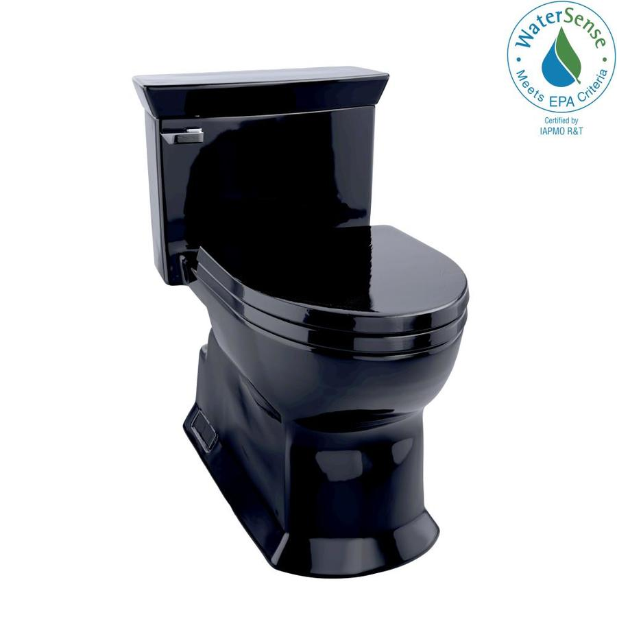 TOTO Eco Soiree 1.28-GPF (4.85-LPF) Ebony Elongated Chair Height 1-piece Toilet