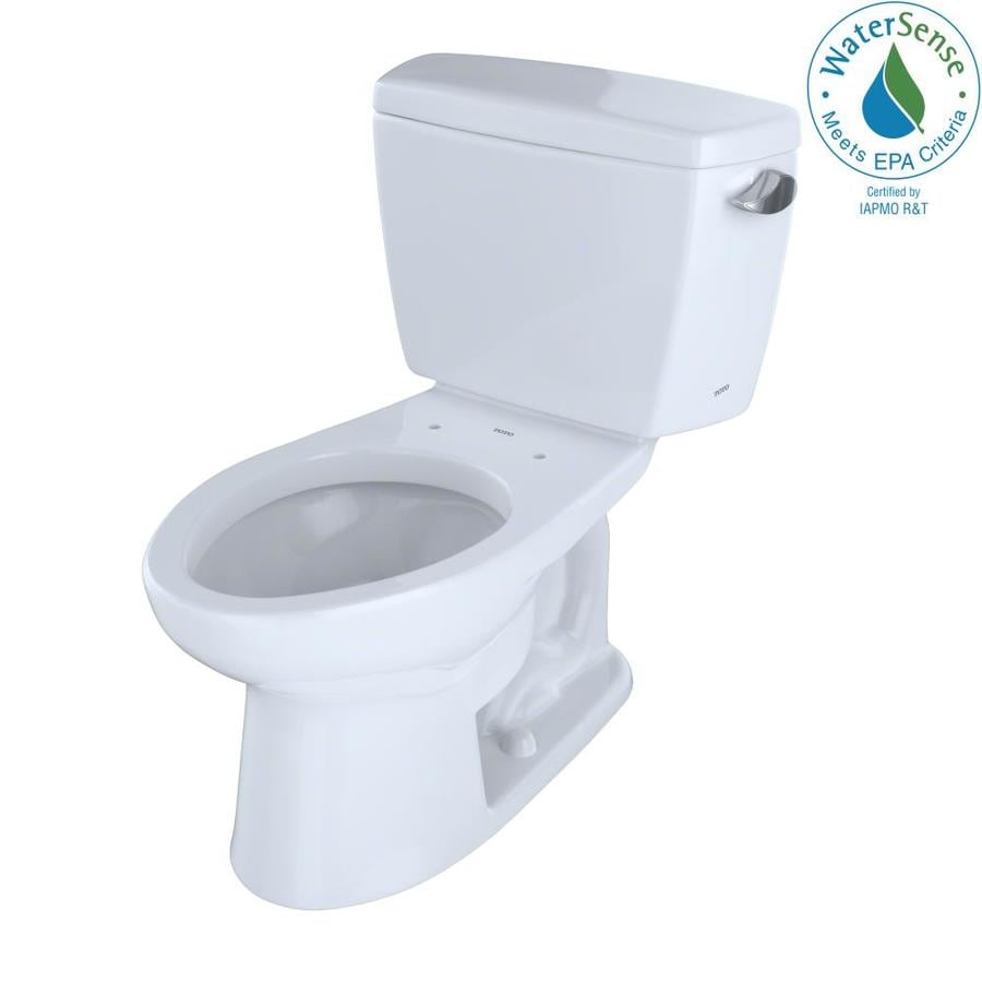 TOTO Eco Drake Cotton White WaterSense Labeled  Elongated Standard Height 2-piece Toilet 12-in Rough-In Size