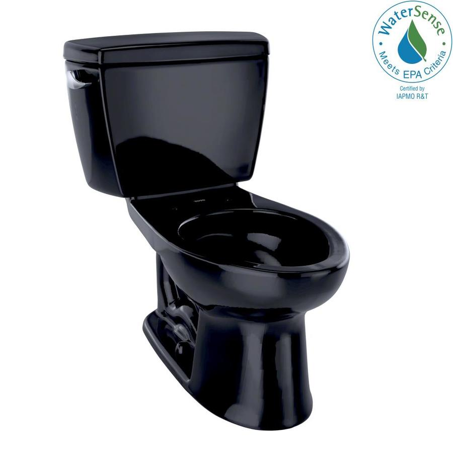 TOTO Eco Drake Ebony WaterSense Labeled  Elongated Chair Height 2-piece Toilet 12-in Rough-In Size