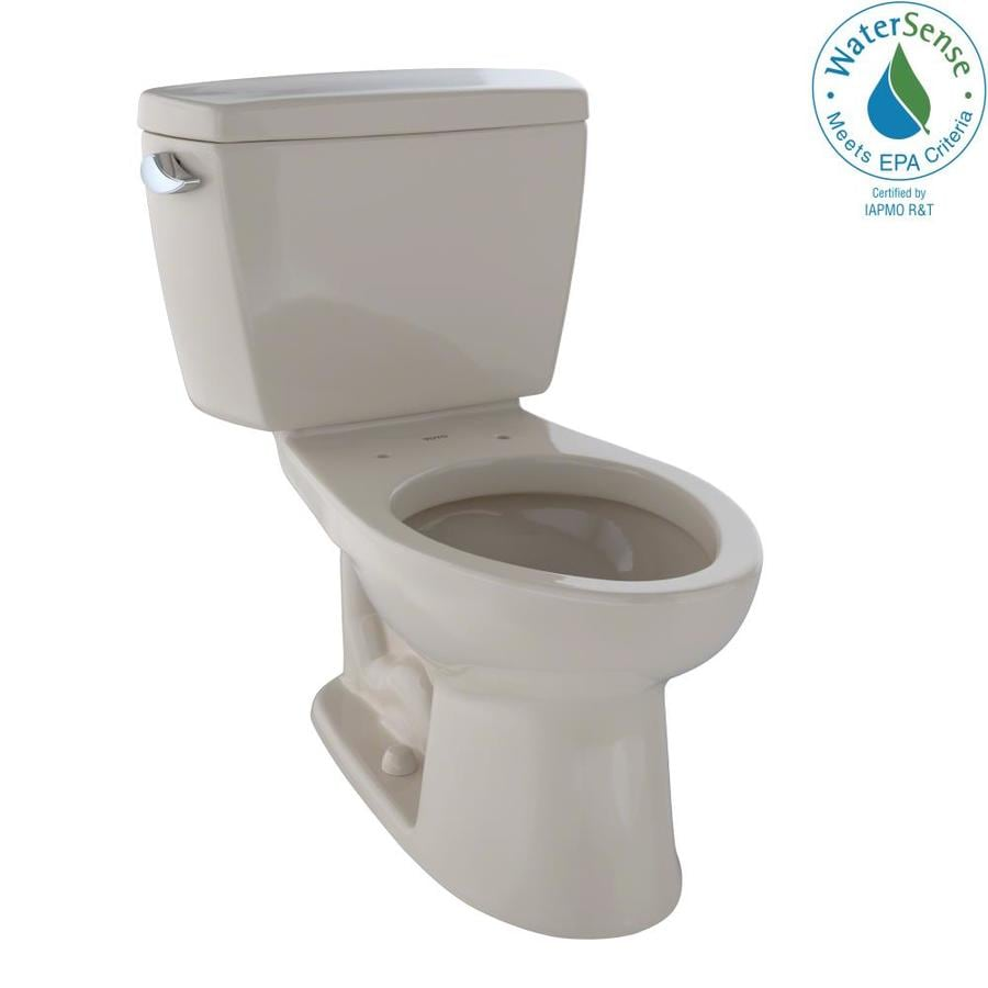 TOTO Eco Drake Bone WaterSense Labeled  Elongated Standard Height 2-piece Toilet 12-in Rough-In Size
