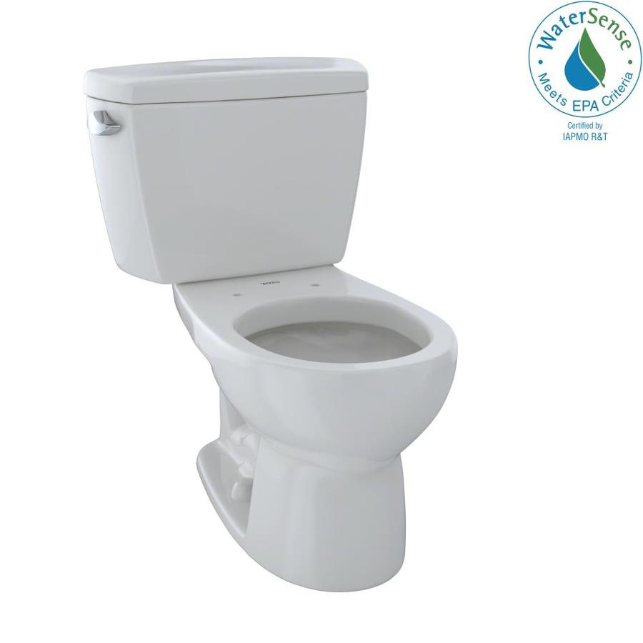 TOTO Eco Drake Colonial White WaterSense Labeled  Round Standard Height 2-piece Toilet 12-in Rough-In Size