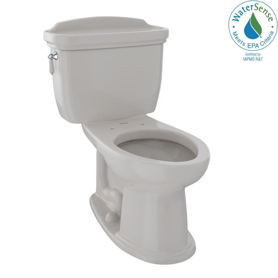 TOTO Eco Dartmouth Sedona Beige WaterSense Labeled  Elongated Chair Height 2-piece Toilet 12-in Rough-In Size