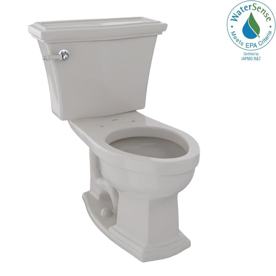 TOTO Eco Clayton Sedona Beige 1.28-GPF (4.85-LPF) 12 Rough-In WaterSense Elongated 2-Piece Chair Height Toilet