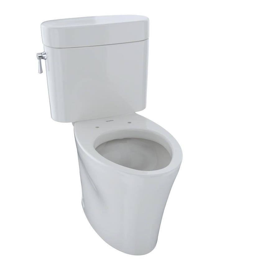TOTO Eco Nexus Colonial White WaterSense Labeled  Elongated Chair Height 2-piece Toilet 12-in Rough-In Size