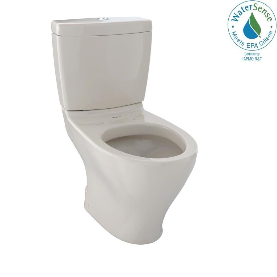 TOTO Aquia Bone WaterSense Labeled Dual Elongated Chair Height 2-piece Toilet 12-in Rough-In Size