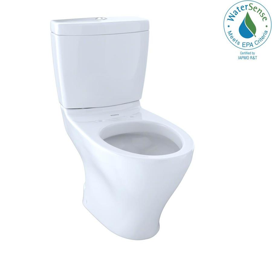 TOTO Aquia 1.6; 0.9-GPF (6.06; 3.41-LPF) Cotton White WaterSense Dual-Flush Elongated Chair Height 2-Piece Toilet