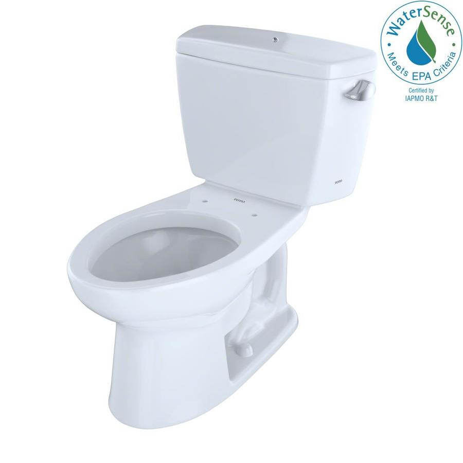 TOTO Eco Drake Cotton White WaterSense Labeled  Elongated Chair Height 2-piece Toilet 12-in Rough-In Size