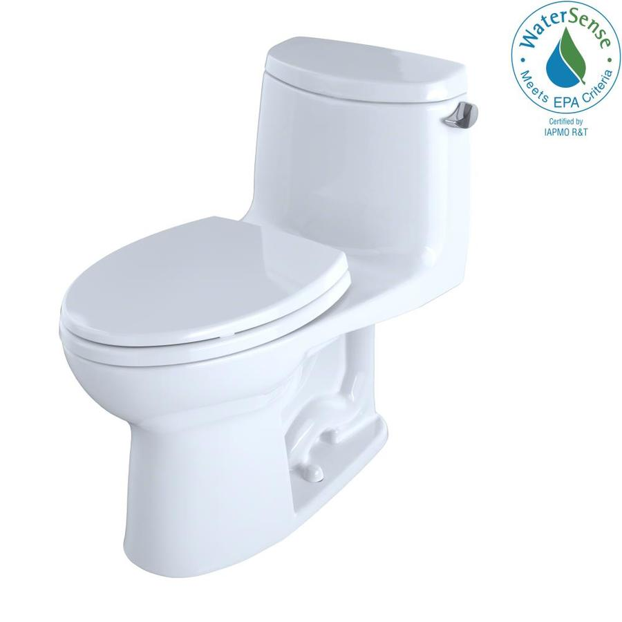 TOTO Ultramax II Cotton White WaterSense Labeled  Elongated Chair Height 1-piece Toilet 12-in Rough-In Size