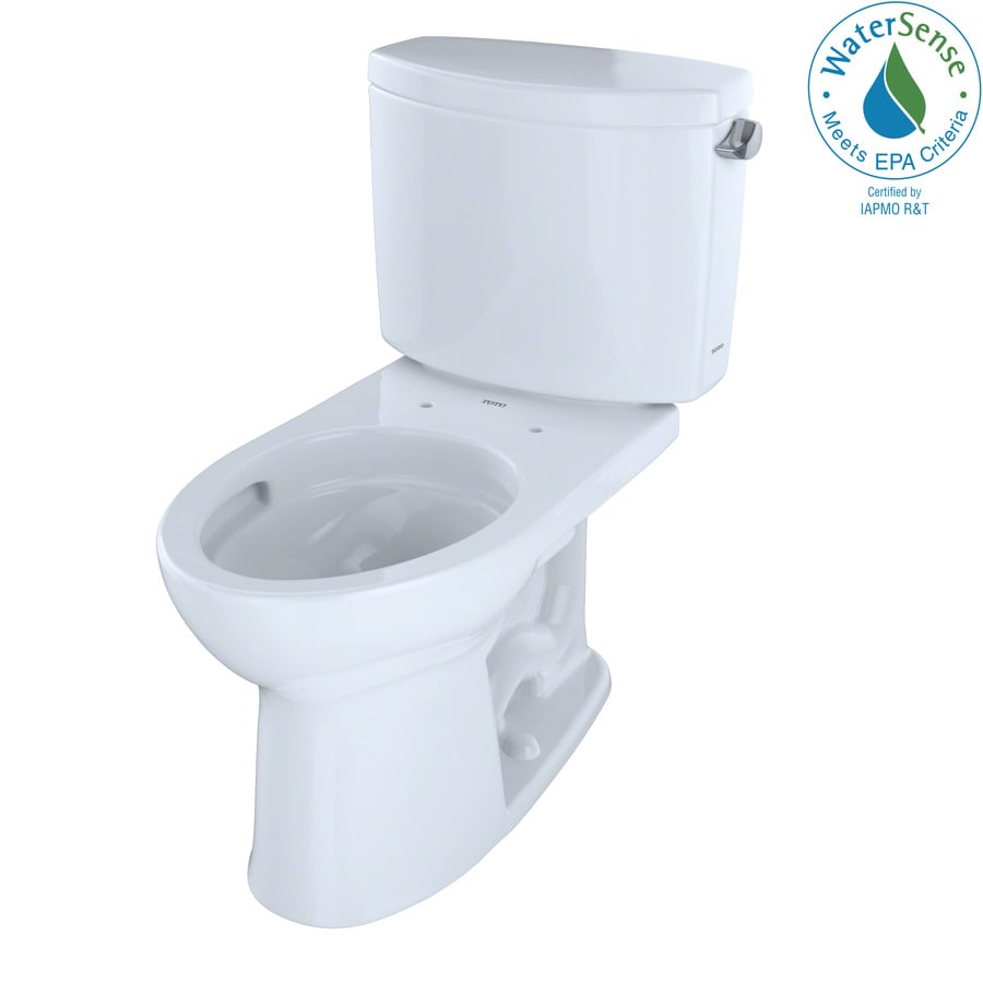 TOTO Drake II Cotton White WaterSense Labeled  Elongated Chair Height 2-piece Toilet 12-in Rough-In Size