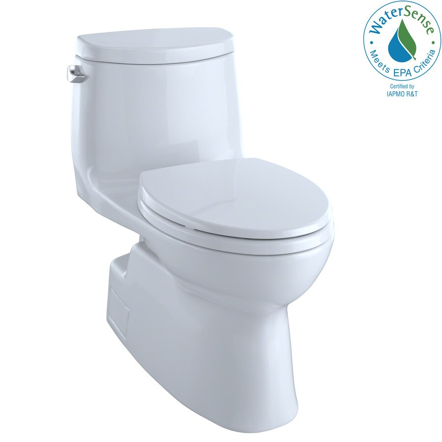 TOTO Carlyle II Cotton White 1.28-GPF (4.85-LPF) 12 Rough-In WaterSense Elongated 1-Piece Chair Height Toilet